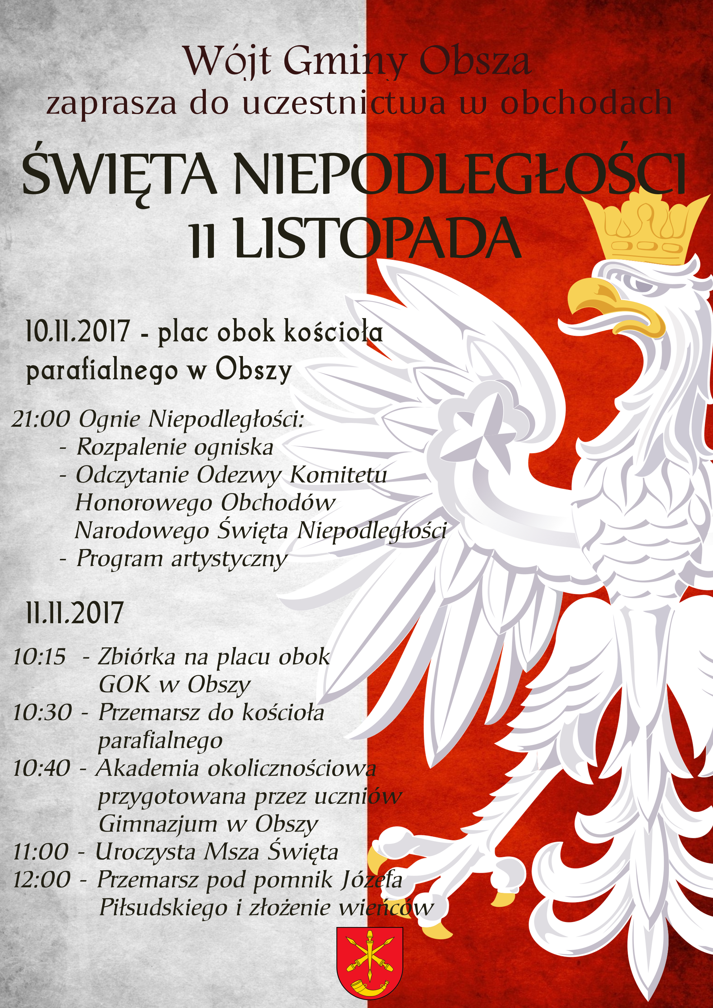 święto Niepodległości 11 Listopada 2017 Gmina Obsza